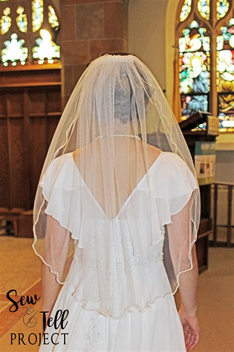 how to sew on a veil how to make a single layer veil with a beaded edge the