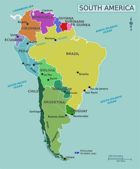 south american large political map of south america guiana