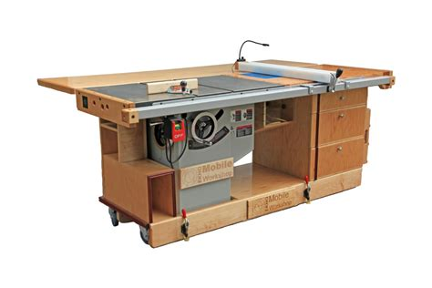 portable woodworking bench plans ekho mobile workshop portable cabinet saw work bench