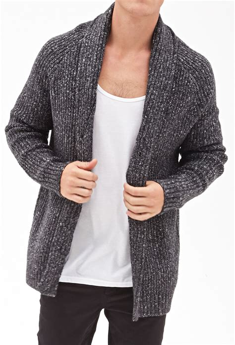 cable knit sweater mens forever 21 cable knit cardigan in gray for lyst