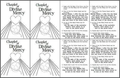 chaplet prayer look to him and be radiant mercy prayer cards