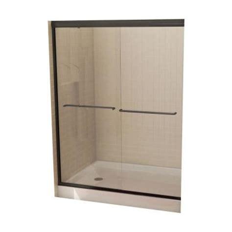 home depot glass shower doors maax tonik 54 in to 59 1 2 in w shower door in bronze
