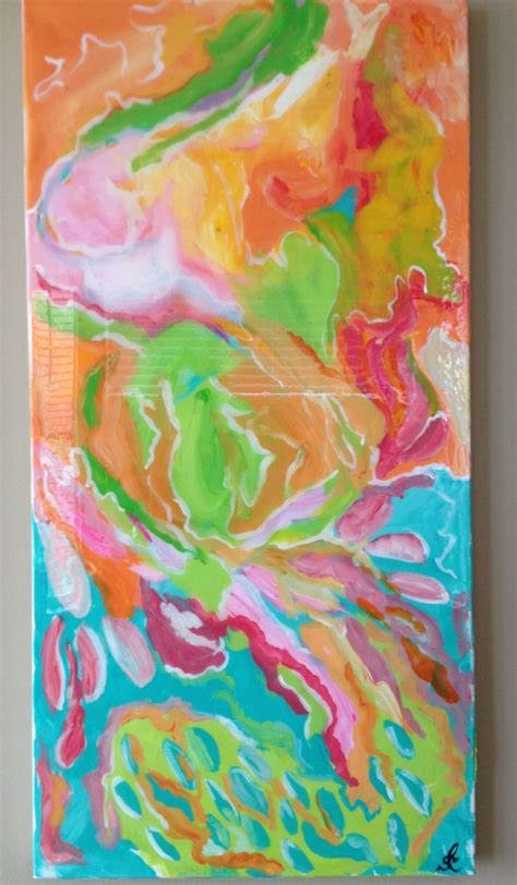acrylic paint on canvas finish original acrylic abstract painting 15 quot x 30 quot with high