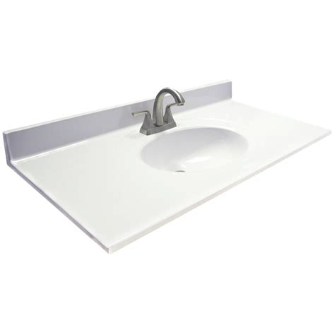 bathroom vanity sink top shop us marble ambassador white on white cultured marble