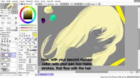 paint tool sai rendering tutorial paint tool sai tutorial hair shading