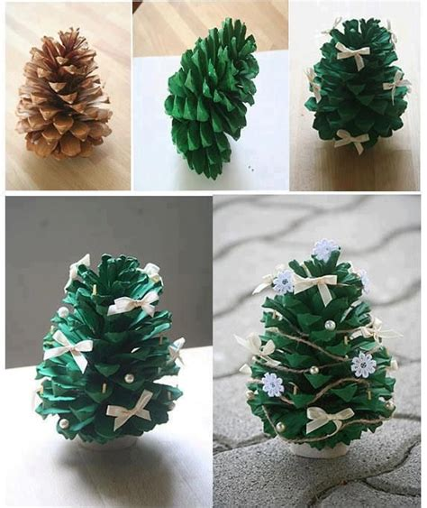 pine cone tree craft project diy pine cone tree