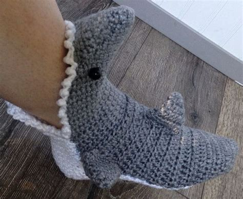 knitted shark booties mens crochet shark slipper socks free shipping by