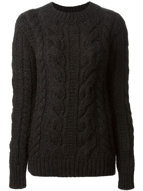 Belstaff Cable Knit Sweater In Black Lyst