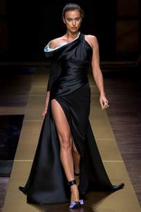 fashion show irina shayk walks the runway at atelier versace fashion