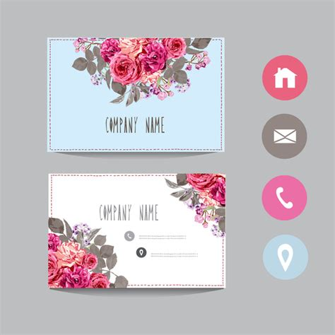 flower templates for card flower business card template with society icons vector 14