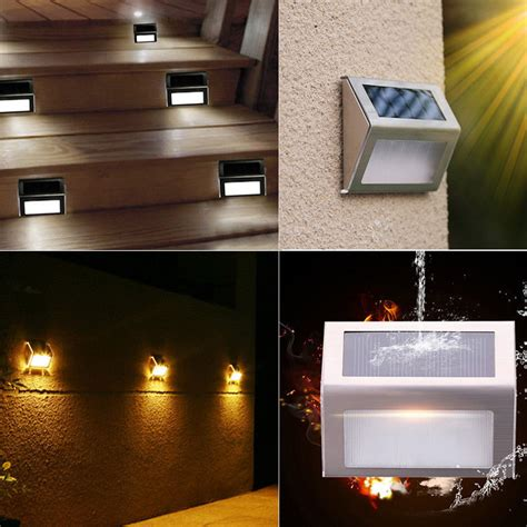 Solar Deck Lights For Steps by Outdoor Solar Led Deck Garden Stair Step Lights Stainless