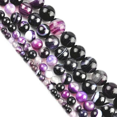 jewelry materials new purple striped agate spacer