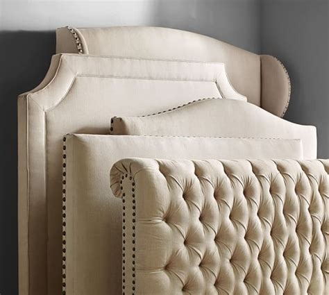tufted headboard bed chesterfield upholstered bed headboard pottery barn