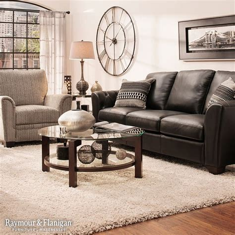 living room design with black leather sofa black leather