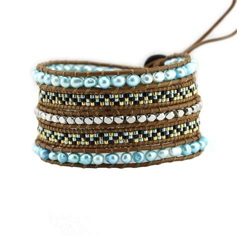 seed bead leather wrap bracelet turquoise freshwater pearls with miyuki glass seed