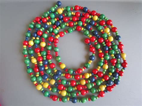 wooden bead garland for trees wood bead garland shop collectibles daily
