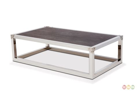 stainless coffee table salvatore stainless steel coffee table with wood top in