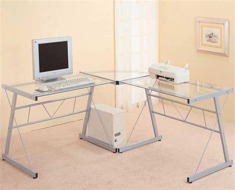 l shaped glass top computer desk modern glass desks for work