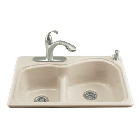 cast iron kitchen sink shop kohler woodfield basin drop in enameled cast