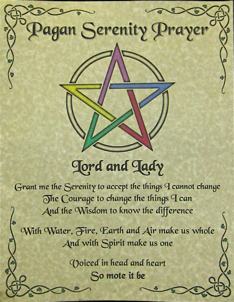 witches prayer pagan serenity prayer poster print inspirational wicca