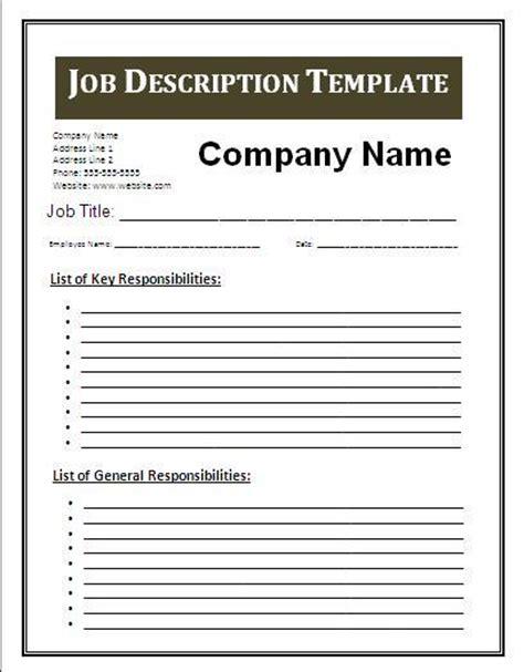 job description template free business templates