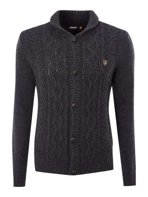 grey shawl neck cable knit cardigan farah burke cable knit shawl collar cardigan in gray for