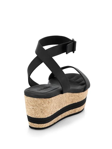 leather platform sandals see by chlo 233 leather cork platform sandals in black lyst