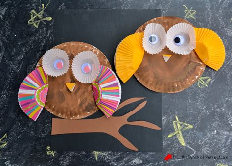 owl paper plate craft paper plate and cupcake liner owl craft for