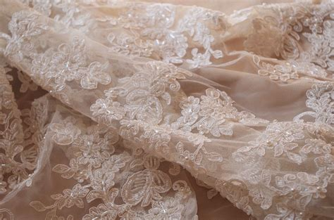 beaded lace ivory beaded cord lace fabric delicate lace ivory