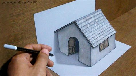 craft drawing paper trick drawing 3d tiny house on paper