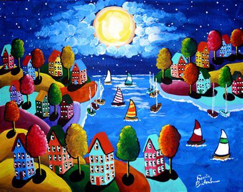 colorfu houses painting sail colorful houses sailboats moon whimsical
