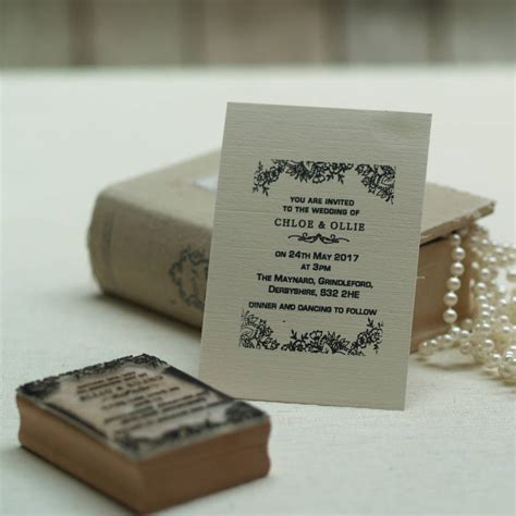 rubber st wedding personalised wedding invitation st lace design by