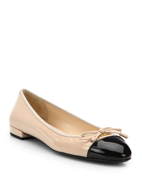 patent leather ballet flats prada patent leather cap toe ballet flats in black lyst