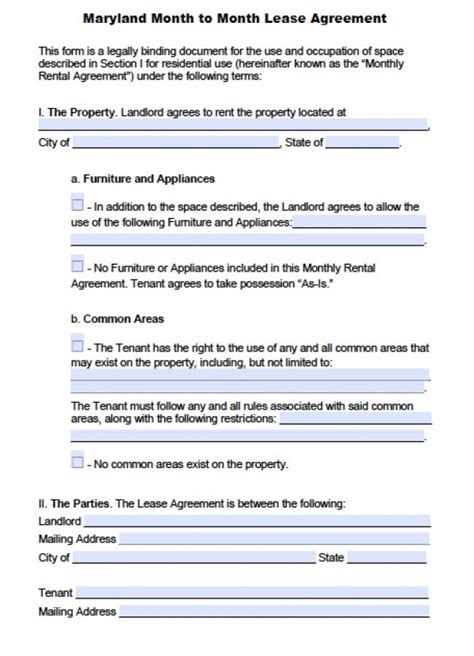free maryland month to month lease agreement pdf word