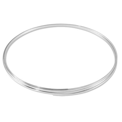 Flat Necklace Memory Wire Silver Plated Steel 1 3oz