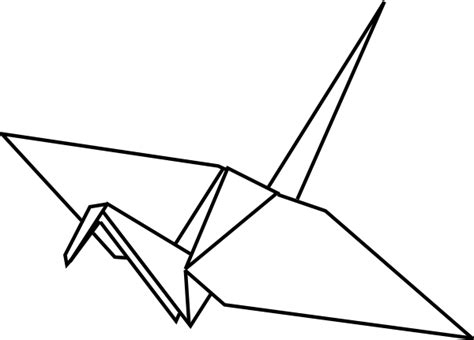 origami bird drawing paper crane outline clip at clker vector clip