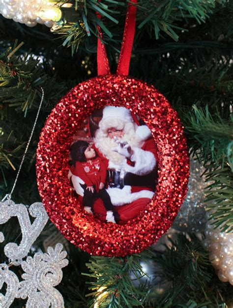photo ornaments to make glitter photo tree ornaments two crafting