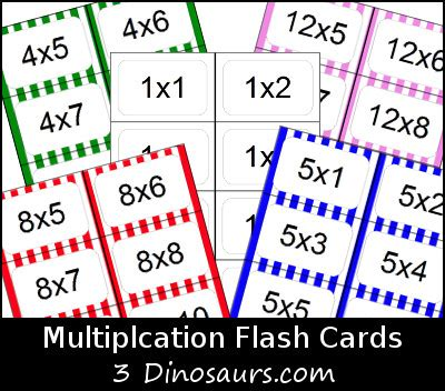 how to make multiplication flash cards free multiplication flash cards 3 dinosaurs