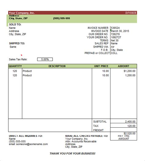 best photos of sample invoice template excel 2014