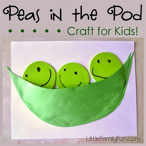 green crafts for family pea pod craft