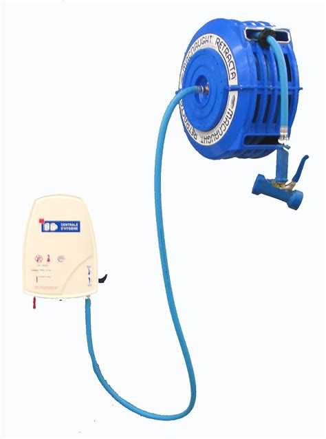 centrale de nettoyage pour cuisine avec enrouleur automatique pvc 2 tuyaux de 13 m stl sarl