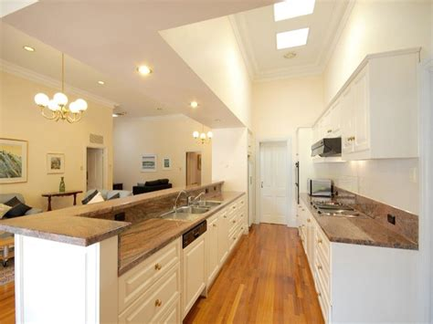 galley kitchens designs ideas modern galley kitchen design using floorboards kitchen