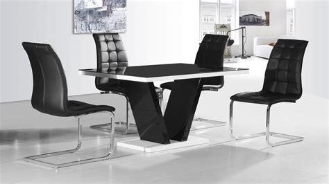 black dining tables and chairs black glass high gloss dining table and 4 chairs homegenies