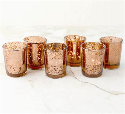 Votive Holders by Set Of 12 Copper Gold Mercury Glass Candle Votive