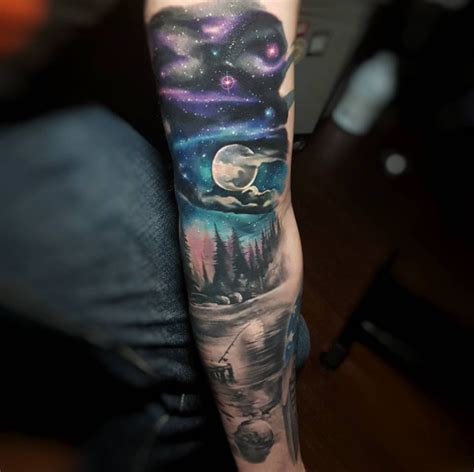 night sky tattoo dark brown hairs