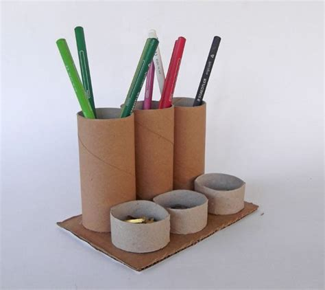 recycle toilet paper rolls crafts desk organizer how to make with toilet paper rolls