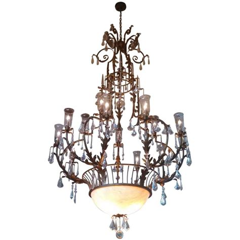 hurricane l chandelier 1970s wrought iron and cage chandelier with