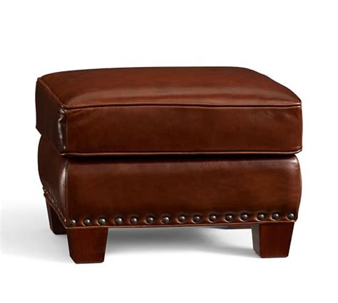leather storage ottomans sale irving leather storage ottoman with nailheads pottery barn