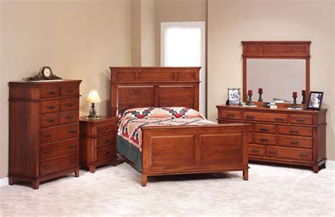 cherry wood bedroom set shaker style amish made 42211