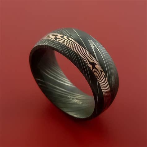 mokume gane damascus and 14k mokume gane gold ring custom made